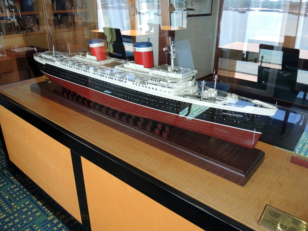 Norwegian Jade cruise ship, model of SS United States