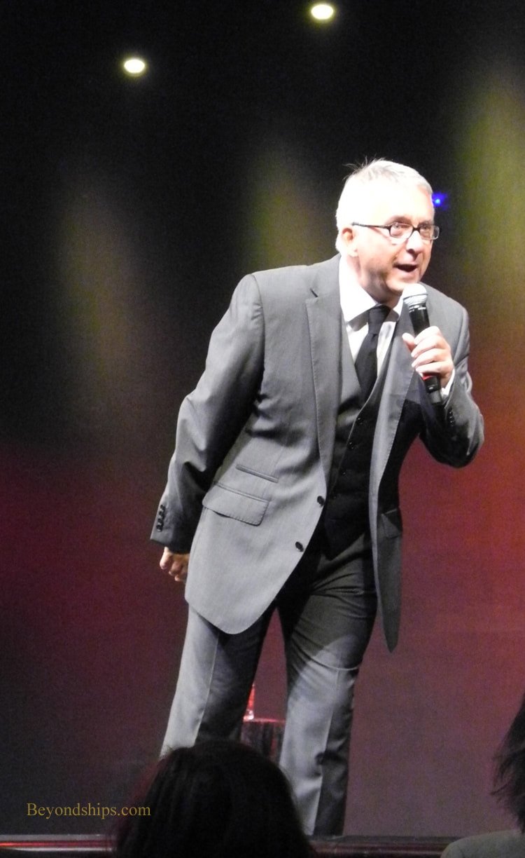 Comedian Jeff Stevenson in Cruise ship Queen Victoria Royal Court Theatre