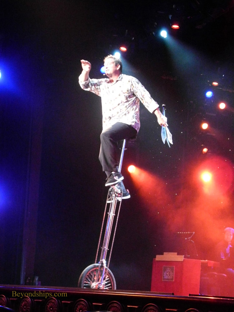 Juggler Pete Matthews in Cruise ship Queen Victoria Royal Court Theatre